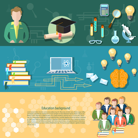 pedagogy: Science and education students exams teacher online training technology education research chemistry physics vector banners