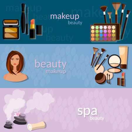 makeup artist: Makeup artist glamour beautiful woman face cosmetics nail polish eye shadow makeover mascara fashion spa vector banners