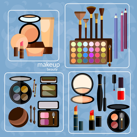 eye liner: Decorative cosmetics professional nail polish lipstick applicator shadow kit brush mascara fashion makeover make-up vector icons