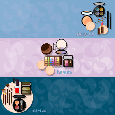 eye liner: Decorative cosmetics glamour makeup powder nail polish eye shadow mascara fashion makeover vector banners