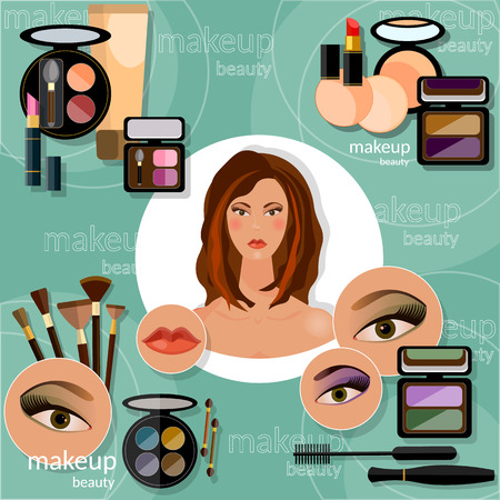 eye liner: Makeup artis beautiful woman face professional cosmetics glamorous female eye eyeshadow eyelashes lip liner lipstick mascara vector illustration Illustration