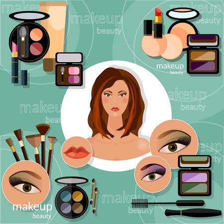 sch�nes frauengesicht: Makeup artis sch�ne Frau Gesicht professionelle Kosmetik glamour�sen weiblichen Augen Lidschatten Wimpern Lipliner Lippenstift Vektor-Illustration