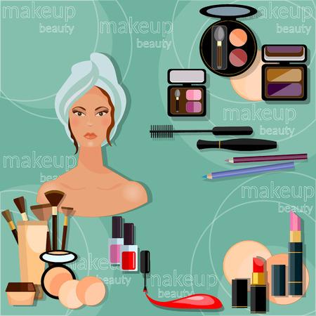 sch�nes frauengesicht: Make-up sch�ne Frau Gesicht professionelle Make-up-Kollektion cosmetology Nagellack Lidschatten Lip Liner Lippenstift Fashion Makeover Vektor-Illustration