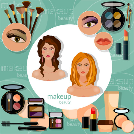 eye shadow: Make-up beautiful woman face brunette blonde model professional set of cosmetics  cosmetology nail polish eye shadow lip liner lipstick fashion makeover vector illustration