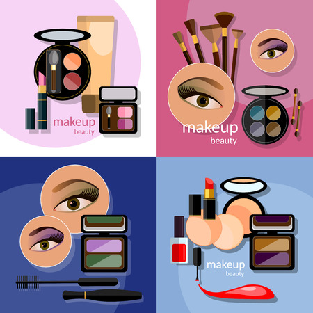 eye liner: Makeup beautiful female eye eyeshadow eyelashes lip liner lipstick mascara professional cosmetics glamorous make-up vector icons Illustration