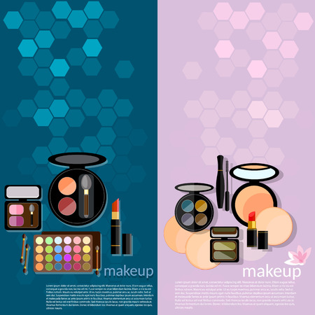 eye liner: Professional make-up glamor details colorful  cosmetology eye shadows palett makeover vector banners