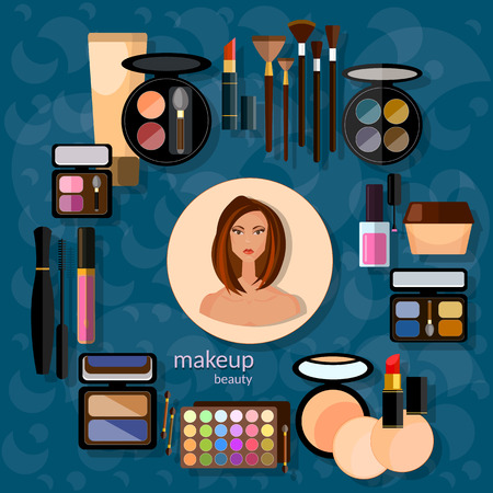 eye liner: Makeup artist beautiful woman make-up cosmetics nail polish eye shadow makeover mascara fashion vector illustration Illustration