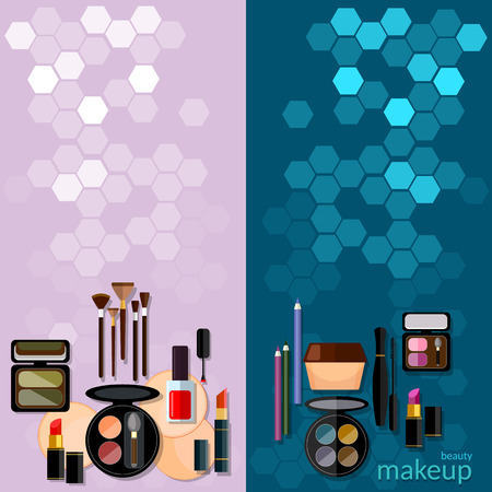 beuty: Makeup fashion concept makeup professional make-up details women cosmetics cosmetology vector banners Illustration