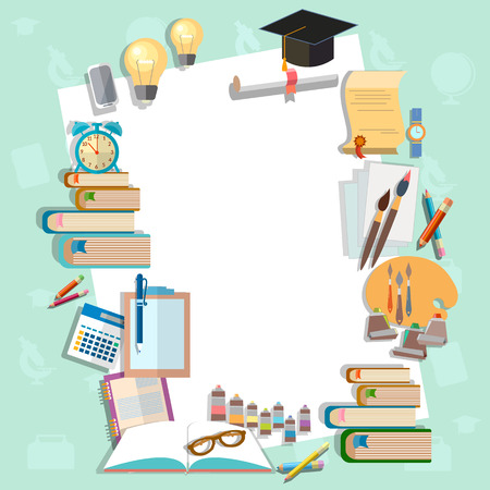 exam: Education background diploma exams back to school college campus algebra mathematics graduation cup vector illustration