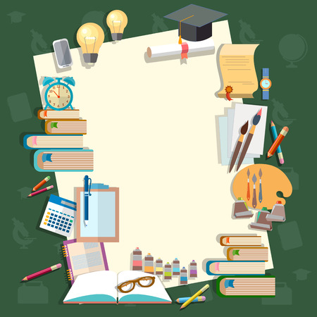 college campus: Education back to school lessons textbooks school subjects school board concept study college campus university vector illustration