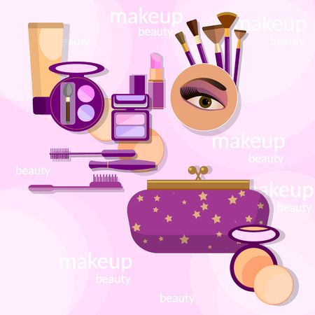 makeup brushes: Makeup and beauty female beautiful makeup eye shadow professional cosmetics brush lipstick vector illustration Illustration
