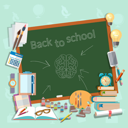 college campus: Back to school school board education college campus classroom lessons think draw write learn vector illustration