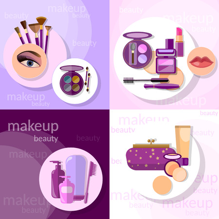 glamorous: Cosmetics set makeup beautiful female eye eyeshadow eyelashes lip liner lipstick mascara professional glamorous make-up vector icons