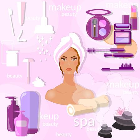 sch�nes frauengesicht: Mode und Sch�nheit sch�ne Frau Gesicht Hygiene professionelle Kosmetik Wellness-Make-up, Hebehautcreme Gesichtsmaske Vektor-Konzept