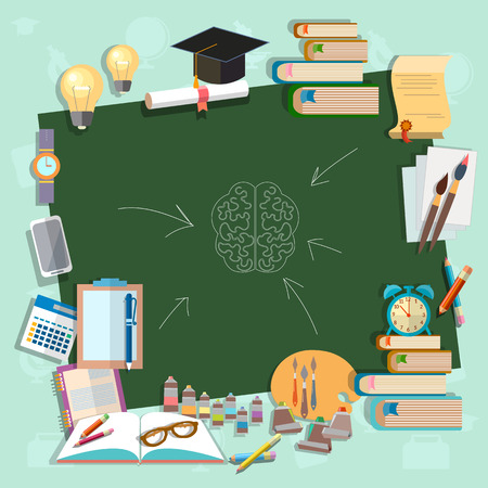 Back to school school board education college campus classroom lessons think draw write learn vector illustration