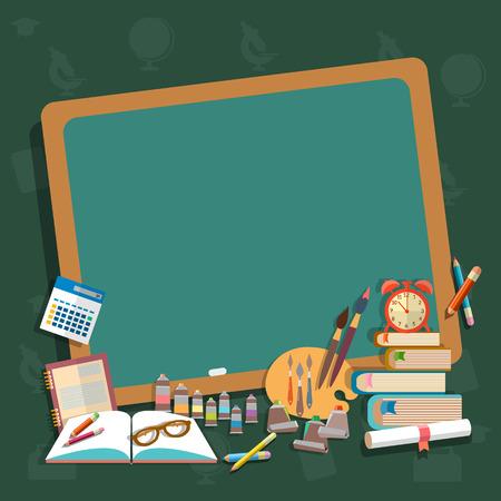 Education school board back to school textbooks notebooks pencils draw learn algebra mathematics college campus vector concept