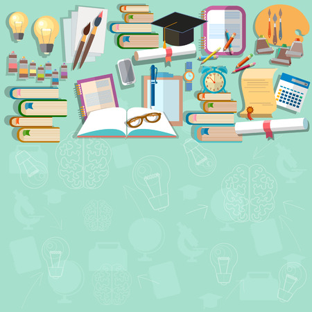 Education background diploma exams back to school college campus study student training vector concept Illustration