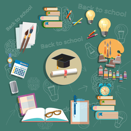 manual test equipment: Education back to school school subjects diploma exams school board concept study college textbooks notebooks vector illustration Illustration