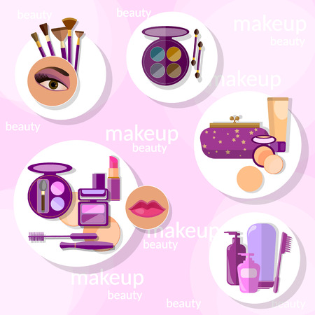 eyelids: Flat set makeup products mascara eyebrow pencil brushes eyeshadow lipstick lip gloss lip liner eyeliner sponge powder blush vector illustration