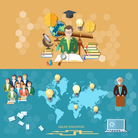 profesor: Ciencia y profesor de educaci�n a distancia la educaci�n de los estudiantes internacionales de tecnolog�a en l�nea conferencias de la universidad profesor estudio universitario vector banners Vectores