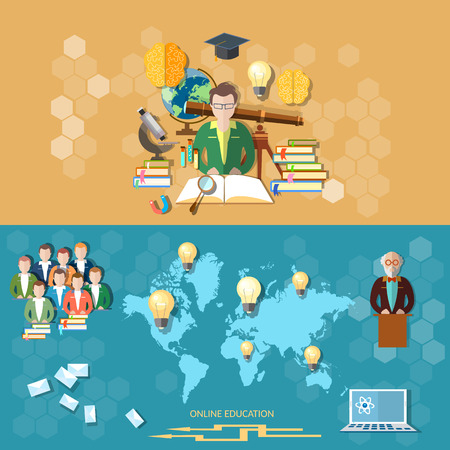 Science and education distance learning professor international students online technology study university teacher college lectures vector banners