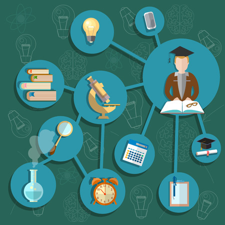 Science and education student lab chemistry scientific research experiment knowledge training school college university vector illustration Stock Illustratie