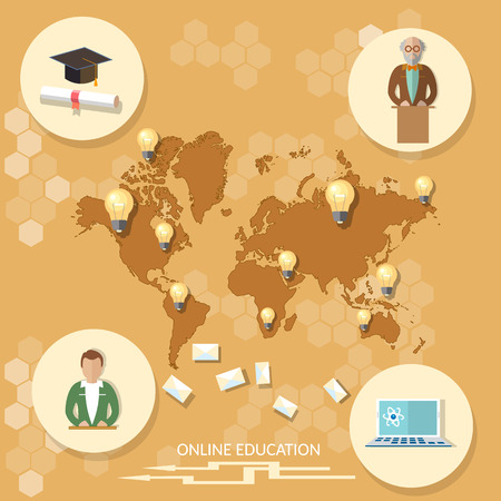 international students: Online education distance learning professor international student technology map world training school college university vector illustration Illustration