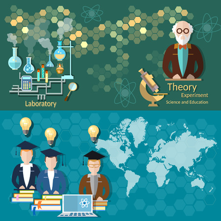 international students: Science and education professors students international students online training college university lectures teacher laboratory experiments chemistry research vector banners