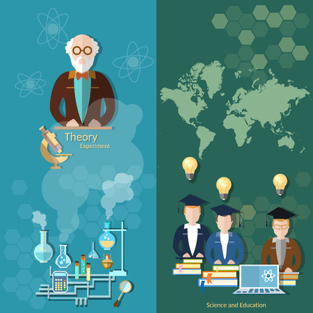international students: Science and education professor teachers international students school board university study world laboratory experiments chemistry physics vector banners Illustration