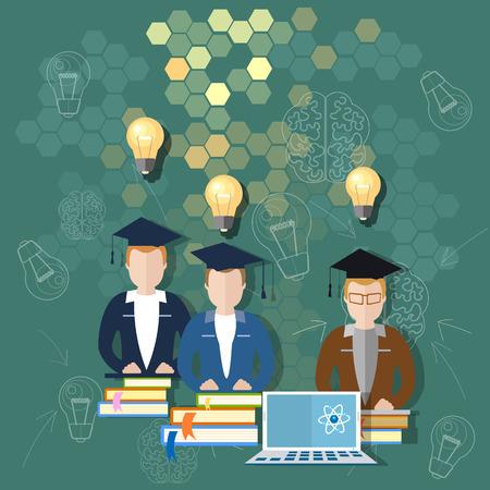 La ciencia y la educación en línea de la junta escolar de educación en el aula profesor universitario los estudiantes internacionales estudian la ilustración de libros universidad conferencias de maestros del vector Ilustración de vector