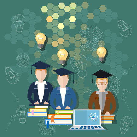 international students: Science and education online education school board teacher classroom international students study university college lectures teacher books vector illustration