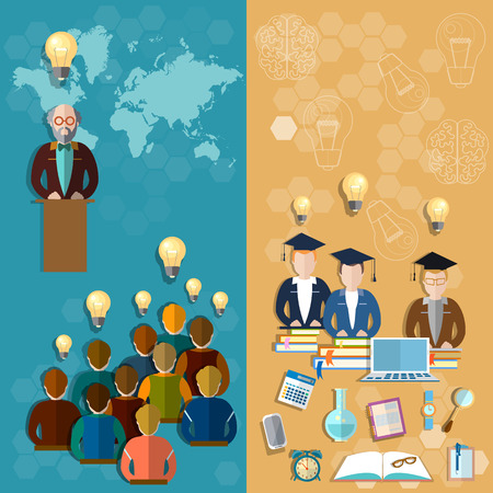 international students: Education technology online education teacher professor lecture international students craduates distance learning examinations college university vector banners