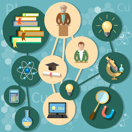 conocimiento: Línea de energía concepto de la educación de la ciencia Proffesor conocimiento y vector de concepto de la educación Vectores