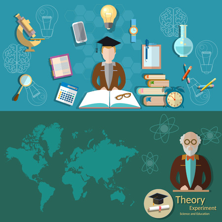 international students: Science and education professor lecture research students education college university laboratory experiments teacher chemistry physics vector banners