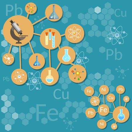 scientific research: Science and education scientific research laboratory chemical process elements atom molecule formula microscope vector concept Illustration