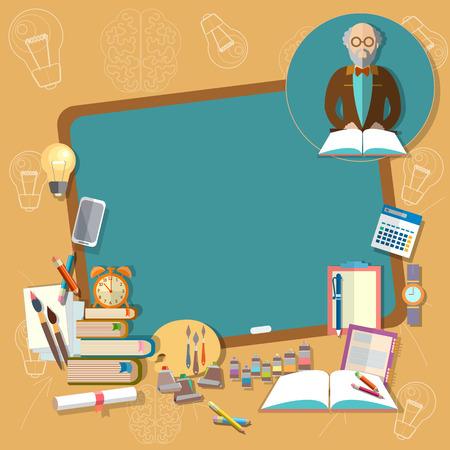 schulausbildung: Zurück in der Schule Bildung Schulbehörde Professorlehrer Klassenzimmer Lehrbüchern Notebooks Vektor-Illustration