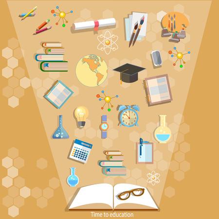 Ffnen Sie Bücher und Ikonen der Bildungskonzept effektive Bildung Macht des Wissens wieder zur Schule Vektor-Illustration Standard-Bild - 44227586