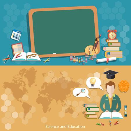 教育: 教育回學校黑板小學生學生的地圖世界的國際教育遠程教育craduates學院大學矢量橫幅 向量圖像