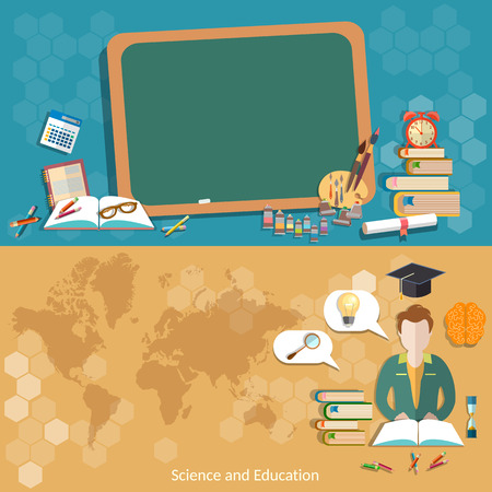 teacher and students: Education back to school blackboard schoolboy students map world international education distance learning craduates college university vector banners