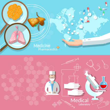 medical technology: Medicine international health service technology pharmaceuticals medical examination research doctor instruments vector banners