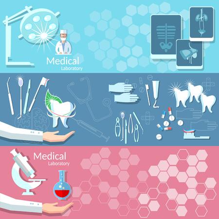 operating room: Medicina odontolog�a salud instrumentos m�dicos de quir�fano radiograf�a cuidado tratamiento dental sangre cirug�a doctor donaci�n vector banners
