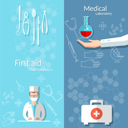 surgeon mask: Medicine blood donation doctor hand first aid kit medical instruments examination hospital vector banners Illustration