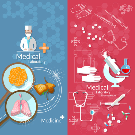 medical laboratory: Medicine pharmaceuticals laboratory transplantation pills human organs doctors hospitals medical study vector banners