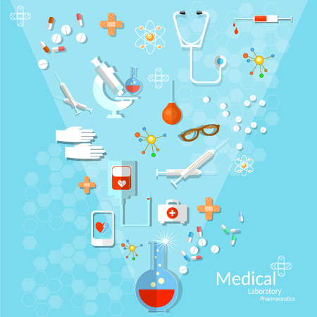 Medicine flat health care and medical instruments in the beam of light background