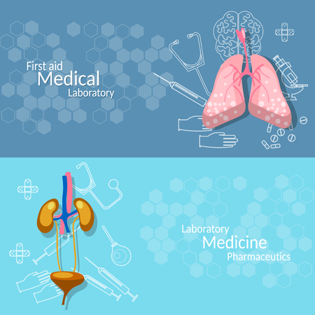 human liver: Medical research internal human organs lungs liver kidneys vector banners