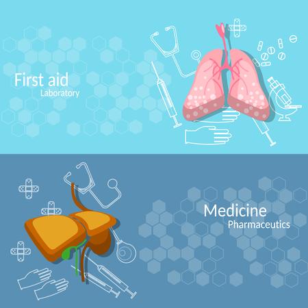 transplantation: Medicine and transplantation human organs lungs liver surgery medical instruments vector banners