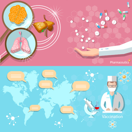 medical technology: Medicine iInternational health world map medical research technology doctor pharmaceutics vector banners