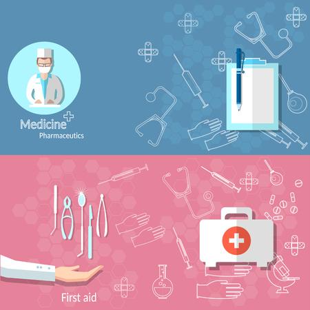 internist: Medicine ambulance medical banners first-aid doctor medical instruments