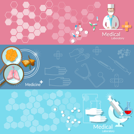pharmaceutics: Medicine health care blood donation transplantation pharmaceutics research doctor medical instruments vector banners