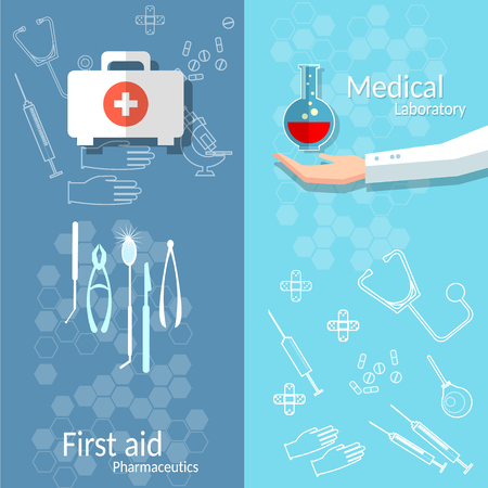 infirmary: Medical banners blood donation first aid kit doctor hand medicine instruments Illustration